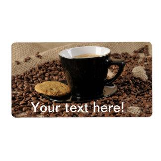 Café y galleta etiquetas de envío