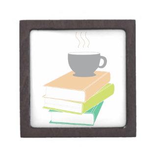 Café y libros caja de recuerdo de calidad