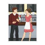 Café y lona del romance lienzo envuelto para galerias
