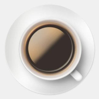 Café y platillo pegatinas redondas