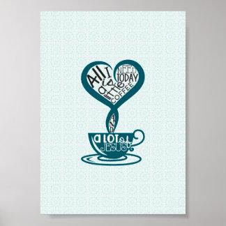 """Café y poster azules 5"""" de Jesús x7 """" Póster"""