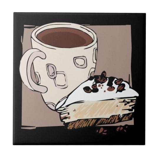 Café y torta azulejo cuadrado pequeño