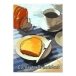 Café y tostada del desayuno invitación 12,7 x 17,8 cm