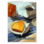 Café y tostada del desayuno tarjeta