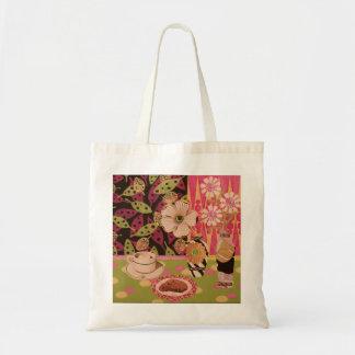 Café y tote floral de las galletas bolsas de mano