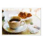 Café y un Croissant en el café Invitación 12,7 X 17,8 Cm