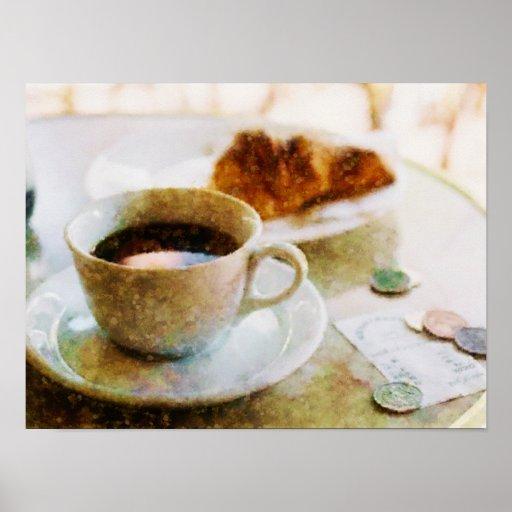 Café y un Croissant en el café Poster