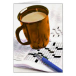Café y un crucigrama tarjeta de felicitación