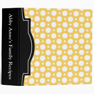 "Cafe Yellow Assorted Polka Dots 2"" Recipe Binder"