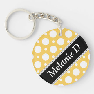 Cafe Yellow Assorted Polka Dots Acrylic Keychain