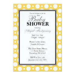 Cafe Yellow Assorted Polka Dots Baby Shower Invitation