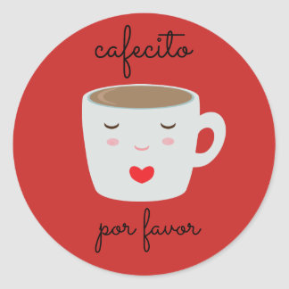 """""""Cafecito"""" Spanish Sticker with Coffee Cup"""