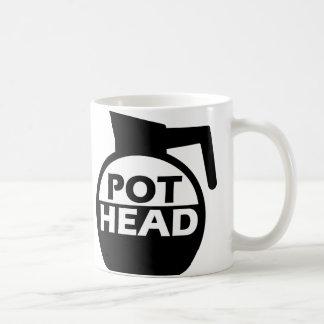 Cafeína divertido de la taza de la cabeza del pote