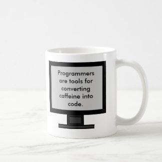 Cafeína en la taza del código
