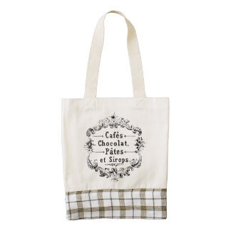 Cafes Chocolat Pates Sirops Vintage French Zazzle HEART Tote Bag