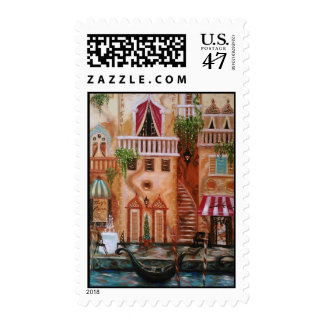 Cafes of Venice Postage Stamp