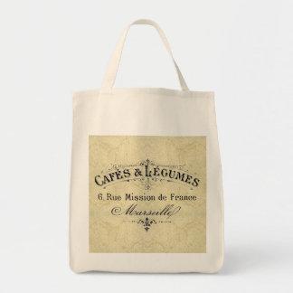 Cafés y tote franceses del ultramarinos de las leg bolsas lienzo