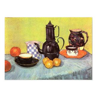 """Cafetera azul del esmalte de Van Gogh, loza de Invitación 5"""" X 7"""""""