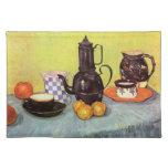 Cafetera azul del esmalte de Van Gogh, loza de Manteles Individuales