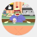 Cafetería Barista del mono del calcetín Etiquetas Redondas