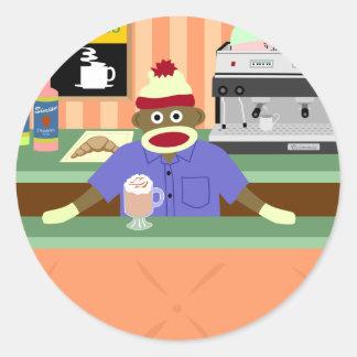 Cafetería Barista del mono del calcetín Pegatina Redonda