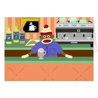 Cafetería Barista del mono del calcetín Tarjeta De Felicitación