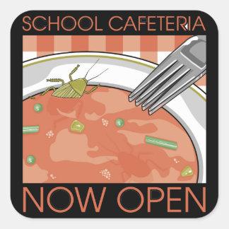 Cafetería de la escuela pegatina cuadrada