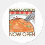 Cafetería de la escuela pegatinas redondas