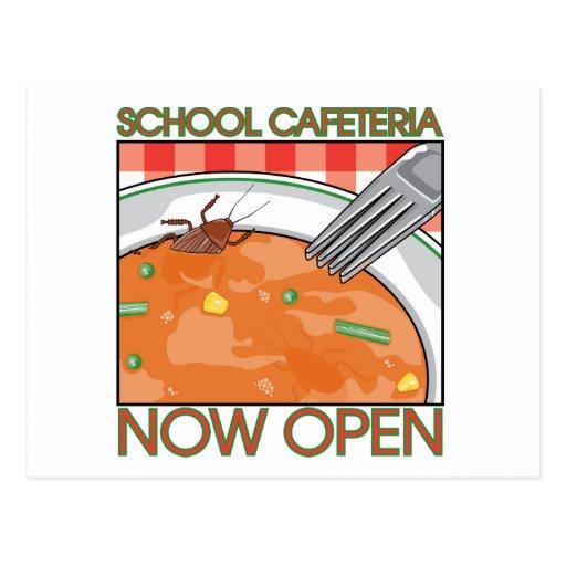 Cafetería de la escuela tarjetas postales