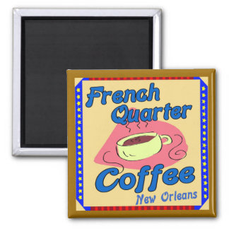 Cafetería del barrio francés imán cuadrado