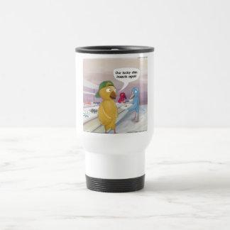 Cafetería del pájaro divertida taza de viaje