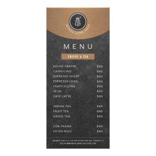 Cafeteria logo copper black chalkboard price list rack card