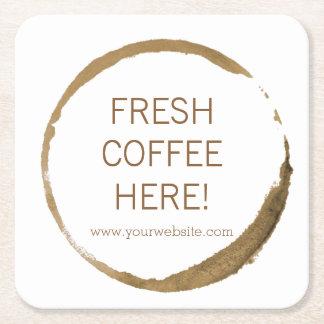 ¡Cafetería - mancha del café - café fresco aquí! Posavasos Desechable Cuadrado