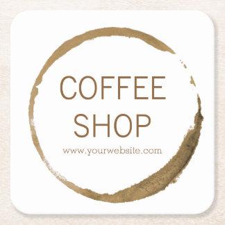 Cafetería - mancha del café posavasos de cartón cuadrado