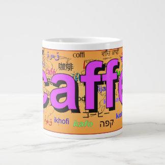 """caffè"" - Coffee in Italian, purple. Map. Extra Large Mug"