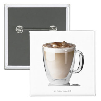 Caffe latte, on white background, cut out button