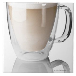 Caffe latte, on white background, cut out ceramic tile