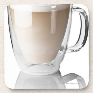 Caffe latte on white background cut out drink coasters