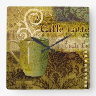 Caffe Latte Square Wall Clock