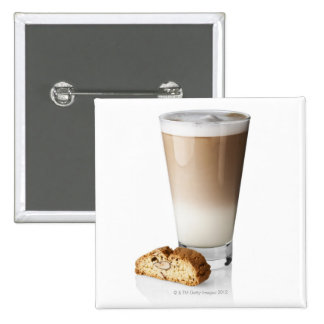 Caffe latte with biscotti, on white background, button