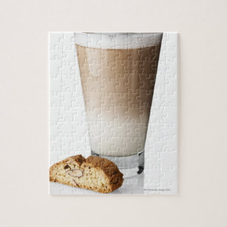 Caffe latte with biscotti, on white background, jigsaw puzzle