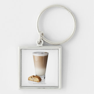 Caffe latte with biscotti, on white background, keychain