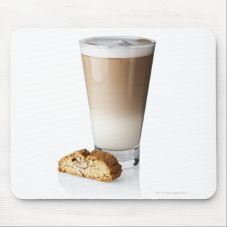 Caffe latte with biscotti, on white background, mouse pad