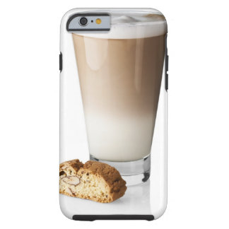 Caffe latte with biscotti, on white background, tough iPhone 6 case