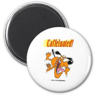caffeinated dog merchandise 2 inch round magnet
