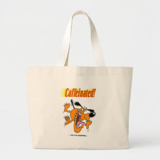 caffeinated dog merchandise large tote bag