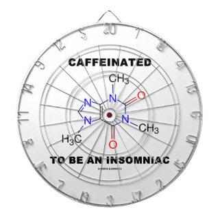 Caffeinated To Be An Insomniac (Caffeine Molecule) Dartboard With Darts