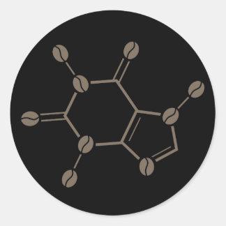 caffeine beans molecule classic round sticker