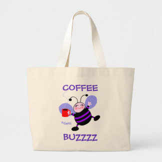 Caffeine Buzz Cute Cartoon Busy Bee Coffee Lover Large Tote Bag