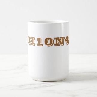 Caffeine chemical formula. classic white coffee mug